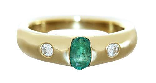 Hobra-Gold Anillo de alianza, oro 585, anillo de oro macizo brillante de 0,15 quilates y esmeralda para mujer RW 55