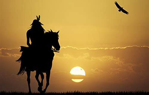 Fototapete selbstklebend Indianer im Sonnenaufgang - 230x150 cm - Bildtapete Fotoposter Poster - Landschaft im Wilden Westen