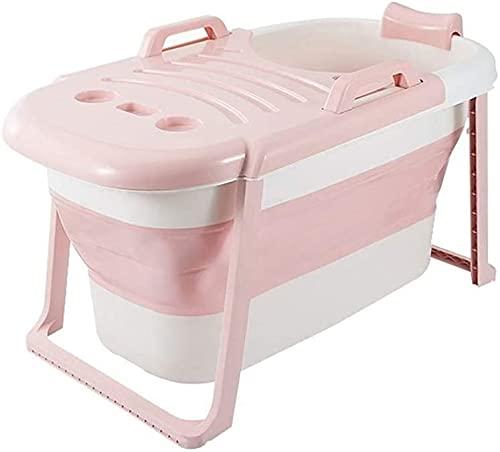 VIVOCC Bañera portátil para bañera Plegable para el hogar para Adultos para Adultos bebés niños, bañera de remojo en la Cabina de Ducha. (Color : Pink)