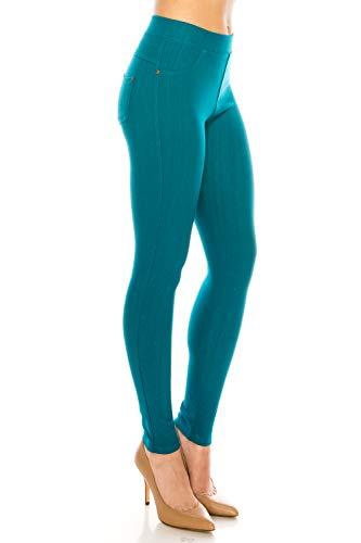 ShyCloset Pantalones de jeans de bolsillo para mujer, parte inferior informal, cómodos, ajustados, estrechos, elásticos, talla grande, Tobillo - Verde azulado, 1X-2X