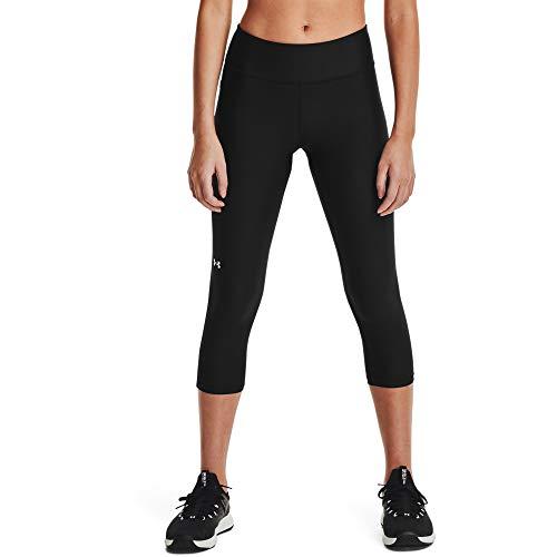 Under Armour Women's HeatGear Armour Mid No-Slip Waistband Pocketed Capri , Black (001)/White , X-Large