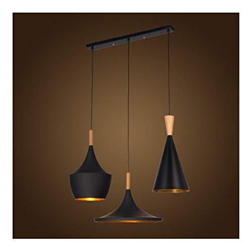 XWZH 1 Juego de ABC Luces Pendientes Loft Lámpara Instrumento nórdica Hanglamp Restaurante Cocina Vivir Tienda de Sala de Bar Iluminación Industrial (Body Color : 1Set Black Bar Wood)