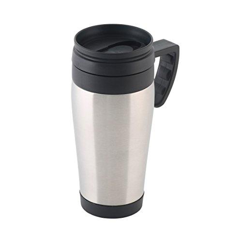 axentia Coffee to go Reise-Becher Edelstahl – Kaffeebecher Travel Mug 400ml - Isolierbecher mit Griff dicht & auslaufsicher