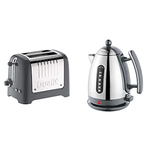 Dualit 2 Slice Lite Toaster | 1.1kW Toasts 60 Slices an Hour | Bagel & Defrost Settings | 36 mm Wide Slots | 26204 & Lite Kettle - 1.5L Jug Kettle - Polished with Grey Trim, High Gloss Finish
