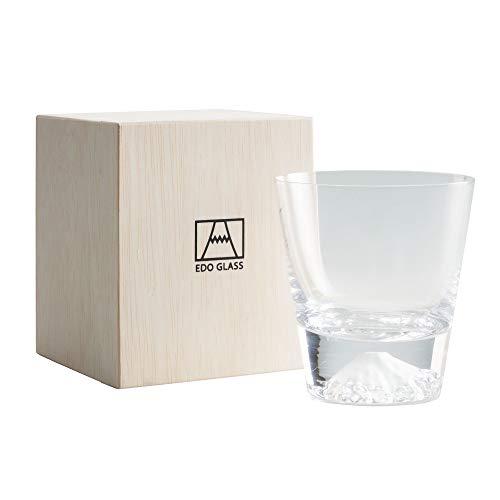 田島硝子 江戸硝子 富士山 ロックグラス 木箱入 (表面加工なし)