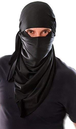 Fancy Me Noir Hommes Japonais Ninja Capuche Costume Déguisement Tenue Accessoire - Noir, Noir, One Size