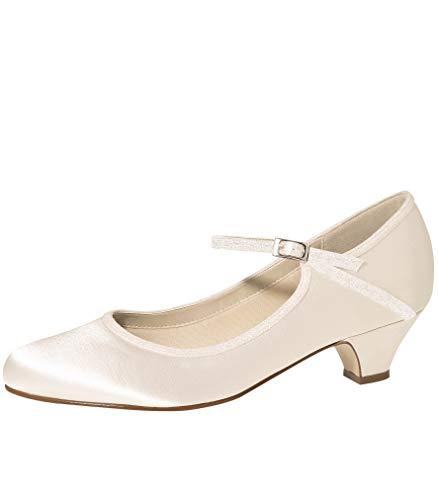 Rainbow Club Brautschuhe Marsha Satin Schuhe 3,5 cm FÄRBBAR High Heels Pumps Ivory mit Riemchen (41 EU)