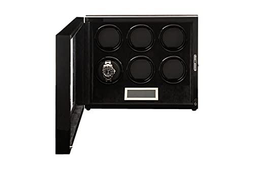 BILLSTONE Paragon 6 Watch Winder Box - Automatic Watch Winder - Quiet Mabuchi Motor - Macassar Wood Finish Exterior, Black Velvet Interior