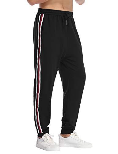 Hawiton Herren Jogginghose Sporthose mit Streifen Taschen Kordelzug Freizeithose für Männer Trainingshose Sports Pants für Running Fitness Gym Basketball Strand