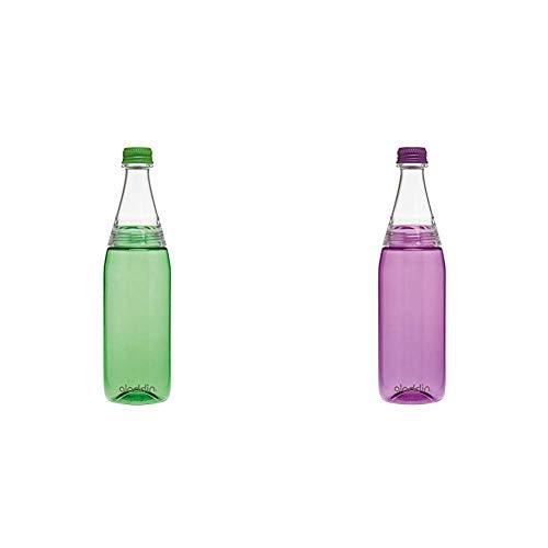 Aladdin Fresco Twist & Go Tritan-Trinkflasche, 0.7 Liter, Grün, Geeignet für Kohlensäure, Spülmaschinengeeignet, Durchsichtig & Fresco Twist & Go Tritan-Trinkflasche, 0.7 Liter, Lila