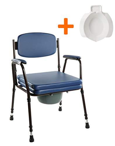 OrtoPrime - Seggiolino WC con WC per anziani e bambini | Include bidet di ricambio | Regolabile in 7 posizioni | Sedia da bagno con coperchio ortopedico braccioli imbottiti | Peso massimo 125 kg