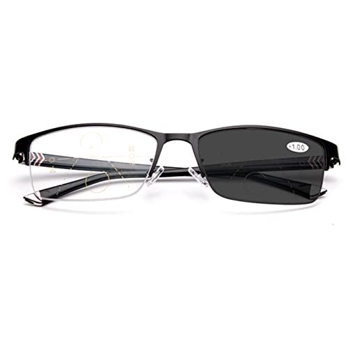 ZQKJLH Occhiali da Lettura multifocali Zoom fotocromatici Automatici Intelligenti - per Uomo/Donna- Occhiali da Sole (Color : Black, Size : +3.0)