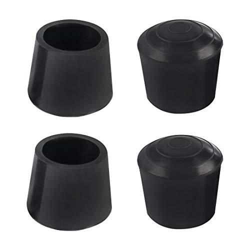 sourcing map 4 tapas para patas de 20 mm 3/4 pulgadas de goma antideslizante para muebles de mesa, protector de piso para reducir el ruido y evitar arañazos negro