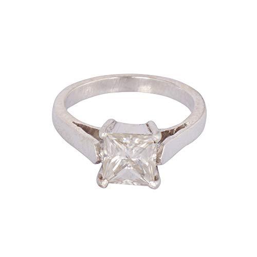GEMHUB Hermoso anillo de diamante moissanita blanco 1.00 quilates corte princesa brillante, anillo de plata de ley 925