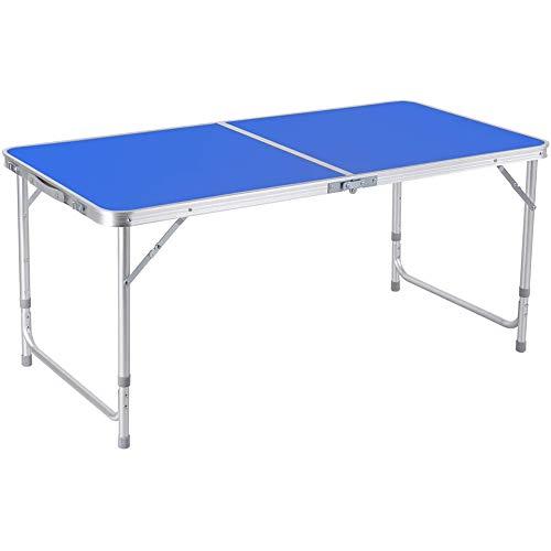Rund 1,2 M Table Plantede EN Aluminium Ensembles RéGleable Garden Party Kitchen Lot Pique-Nique Table De Camping Et Tabouret Gießen Intérieur Ou Extérieur-Aktivitäten(Color:Blau)