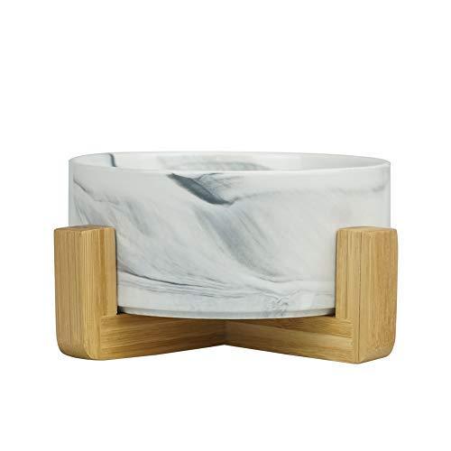 HCHLQLZ Marmo Nero Ceramica Ciotole per Cani Gatti Ciotola Cane Gatto per Cibo Acqua -Combinato con Supporto in bambù