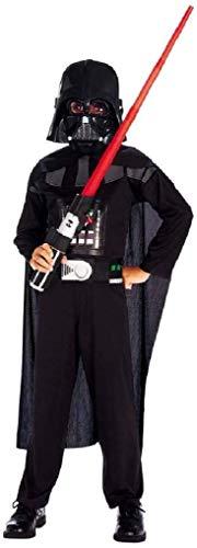 Vestito e Maschera di Carnevale da Darth Vader Star Wars colore Nero Costume Guerriero Stellare Idea Travestimento Bambini Taglia 7° - 4-5 anni Cosplay Regalo