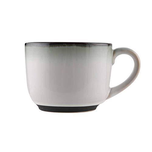 JLWM Tazones De Consomé Tazón Para Sopa Con Asa Americano Cerámico La Leche Desayuno Avena Copa Ensalada De Frutas Fideos-Gris degradado-650ML
