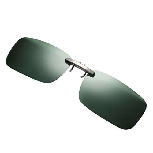 non-brand Gafas de sol Polarizadas con Clip Protección Solar UV400 para Deporte al Aire Libre Pesca - verde oscuro, como se describe