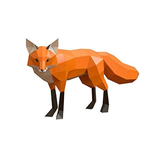 Modelo de Papel de Origami 3D DIY Fox Paper Art Craft 3D Animal montado en la Pared DIY Escultura Puzzle Juguetes de Papel Puzzle Hecho a Mano
