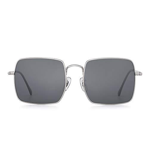 GLINDAR Gafas de sol Polarizadas Grande Cuadrado Marco Metal Conducir Deportes Hombre Mujere(Marco plateado/lente gris polarizada)