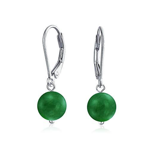 Cordón Redonda Venturina Verde Piedras Preciosa Caída De Bola Leverback Pendiente De Boton De Plata Esterlina 925 Mujer