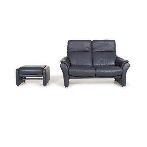 Willi Schillig Ergoline Leder Sofa Garnitur Blau 1x Zweisitzer 1x Hocker Funktion Relaxfunktion #