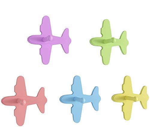 Homfa 5 Ganchos ParedGanchoInfantilColgadorParedInfantilparaRopa de Forma Avión 17.7x9.8x19.2cm