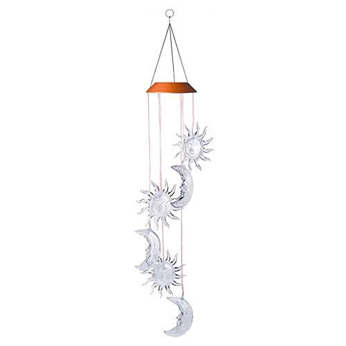 Bunte LED-Solarlampe, Kolibri, Libelle, Schmetterling, Flasche, Windspiel, Dekoration, Lichter für Garten, Fenster, Hof, Heimdekoration (Sternmond)