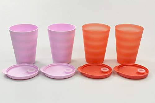 Tupperware Trinkhalmbecher Junge Welle 330 ml rosa (2) + orange (2) Becher 38082