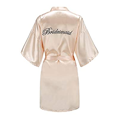 EPLAZA Women's One Size Silver Rhinestones Bride Bridesmaid Short Satin Robes for Wedding Party Getting Ready (X (Champagne - Bridesmaid in Black), Word Embroidery) from