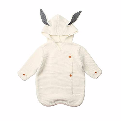 HAYI New Baby Slight Bag Winter Knitting Wrap Wrap Manta de manga larga Durmiendo bebé bebé conejo cálido swaddle manta (Color : White)