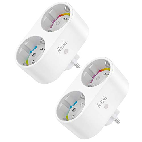Gosund ALexa Steckdose,Smart Wlan Steckdose 2er Steckdose Smarthome Plugs funktionieren mit Alexa, Google Home, Steckdosenverteiler Stromverbrauch messen, Fernbedienung, Timer 2er Pack