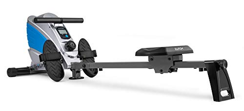 Elitum Rameur à tirage Central ZX700 Rameur magnétique équipé de l'ordinateur Roue d'inertie 9 kg Pliable … (Bleu/Argenté)
