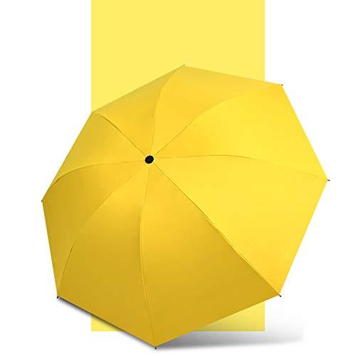 Yangyang 8 Rippen Winddichter, zusammenklappbarer Reiseschirm Leichter Golfschirm mit winddichtem, verstärktem Rahmen, kompakter Reiseschirm mit rutschfestem Griff und Tasche,Gelb