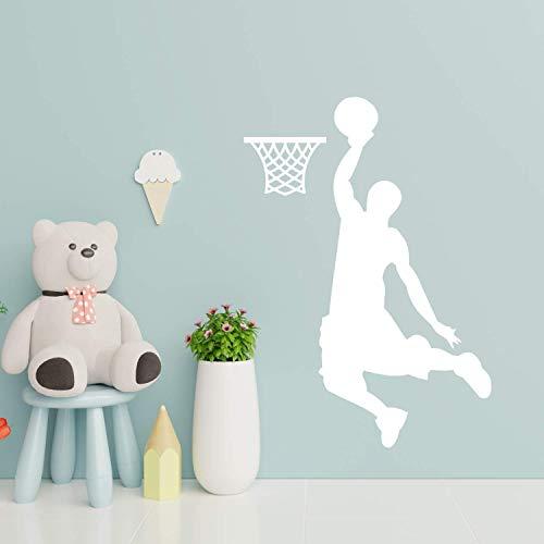 EmmiJules Wandtattoo Basketball-Spieler Basketballer - mit Namen möglich - Made in Germany - in verschiedenen Farben und Größen - Junge Sport Wandaufkleber Wandsticker (60cm x 45cm, weiß)