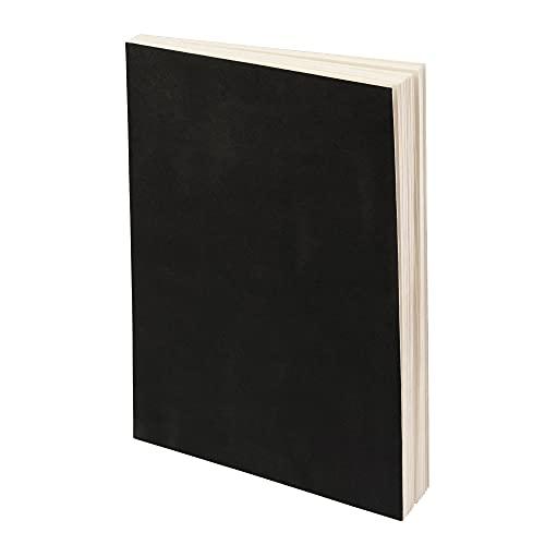 LayFlat - Cuaderno de bocetos (20,3 x 27,4 cm), color negro en blanco, 64 hojas, papel grueso de 100 g/m², para dibujar, dibujar y escribir en diario