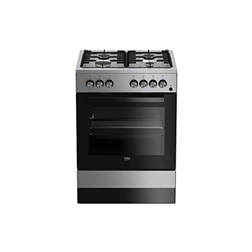 Beko CSE 62110 DX – Cuisinière (autonome, gaz, acier inoxydable, a, noir, acier inoxydable, rotatif)