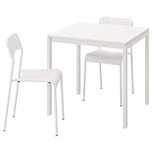MELLTORP/ADDE - Mesa y 2 sillas, color blanco, 75 cm de duración y fácil de cuidar. Conjuntos de comedor de hasta 2 plazas, mesas y escritorios, muebles respetuosos con el medio ambiente