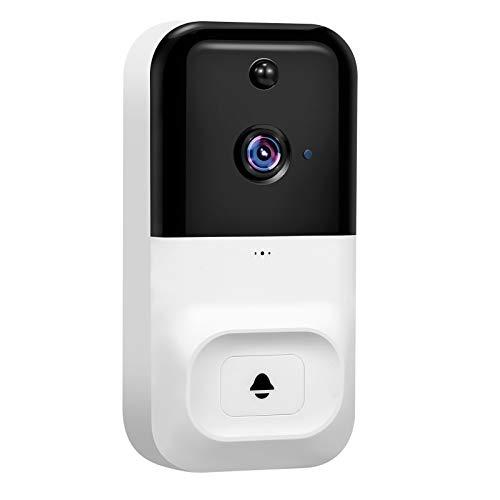Walmeck Cámara de Seguridad con Timbre de Video WiFi inalámbrico 720P con visión Nocturna Audio bidireccional Detección de Movimiento PIR Acceso Remoto