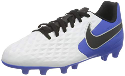 Nike Jr. Legend 8 Club FG/MG, Football Shoe, White/Black-Hyper Royal-Metallic Silver, 36.5 EU