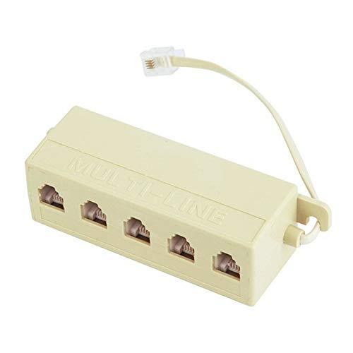 Waech - Regleta de 5 enchufes RJ11 6p4c para cable ADSL módem Internet teléfono