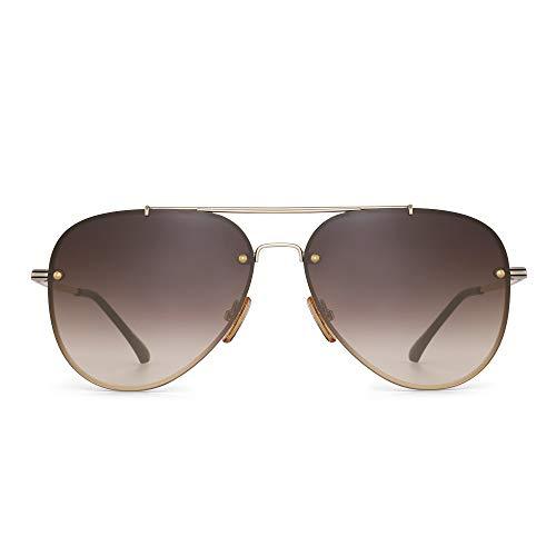 occhiali da sole oro GLINDAR Retro Occhiali da Sole per Uomo Donna Lente Protezione UV 400 Gradiente Doppio Ponte Oro Montatura/Lenti Marrone Gradiente