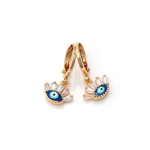 Xpccj Pendientes de tuerca con ojo de la suerte de cobre de mano de Hamsa con borla de lágrima, aretes bohemios para mujeres y niñas, aretes de joyería turca