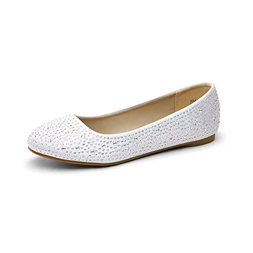 DREAM PAIRS Women s Sole-Shine White Rhinestone Ballet Flats Shoes - 8.5 M US