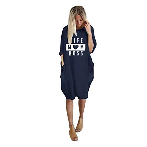 Zegeey T-Shirtkleid Damen Einfarbig Langarm Rundhals Drucken Herbst LäSsige Lose Blusenkleid Minikleid Basic Oberteil Pullover Party Kleider Cocktailkleid Mit Tasche(E6-Marine,38 DE/M CN)