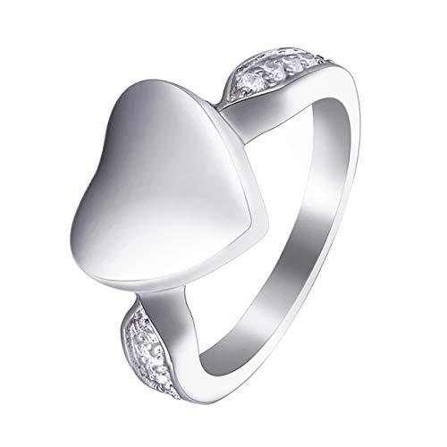 [HooAMI] 【文字刻印】 遺骨指輪 メモリアルリング ハート 手元供養 遺灰 納骨 分骨 指輪 日本サイズ:18号(アメリカサイズ9号)