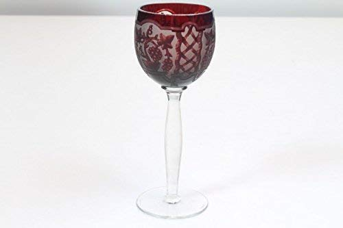 vintage13.de Weinglas Weinkelch Glas Kelch Rot Römer Original Antik Geschliffen Kristall