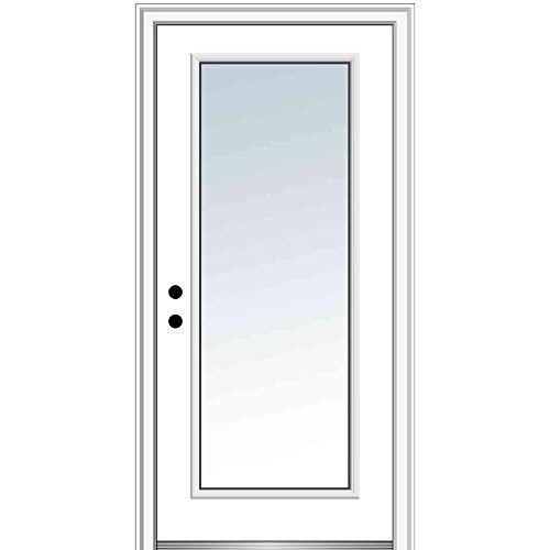 National Door Company ZZ00723R Steel, Primed, Right Hand In-Swing, Exterior Prehung Door, Full Lite, 30