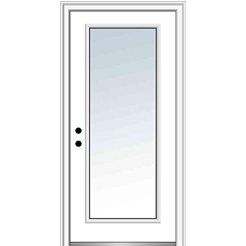 National Door Company ZZ00367R Fiberglass Smooth Primed, Right Hand in-Swing, Prehung Front Door, Full Lite, Clear Low-E Glass, 36' x 80'